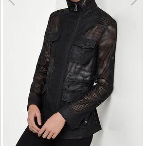 Leather mesh jacket